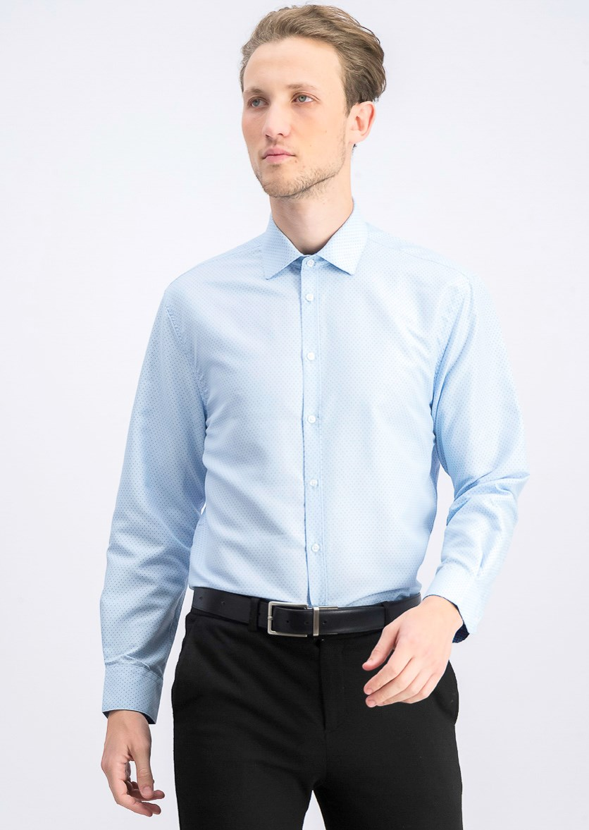 Men's Slim-Fit Non-Iron Performance Print Dress Shirt, Light Blue