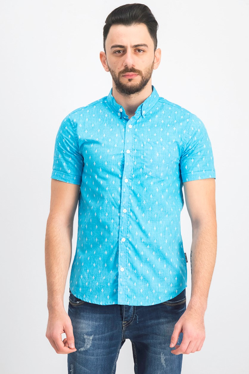 Men's Diamond Printed Shirt, Light Blue