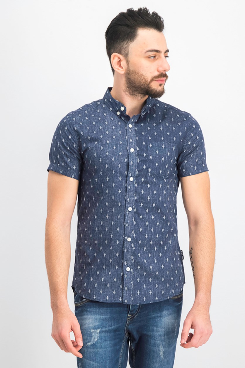 Men's Diamond Printed Shirt, Navy