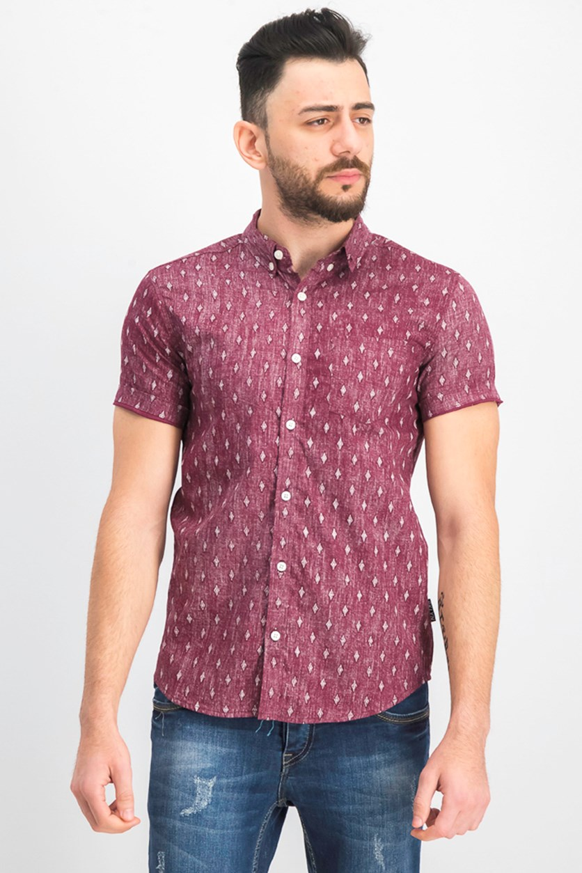 Men's Diamond Printed Shirt, Burgundy