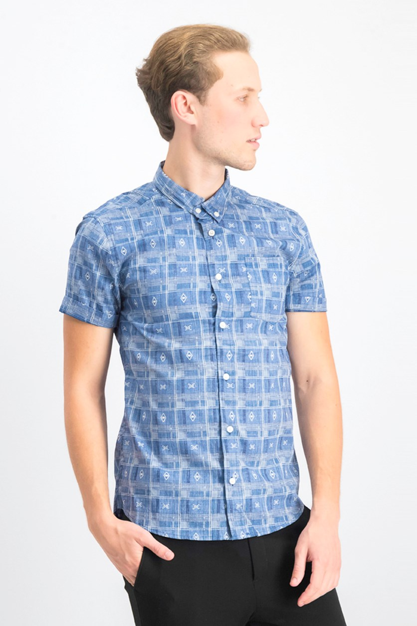 Men's Native Plaid Shirt, Indigo