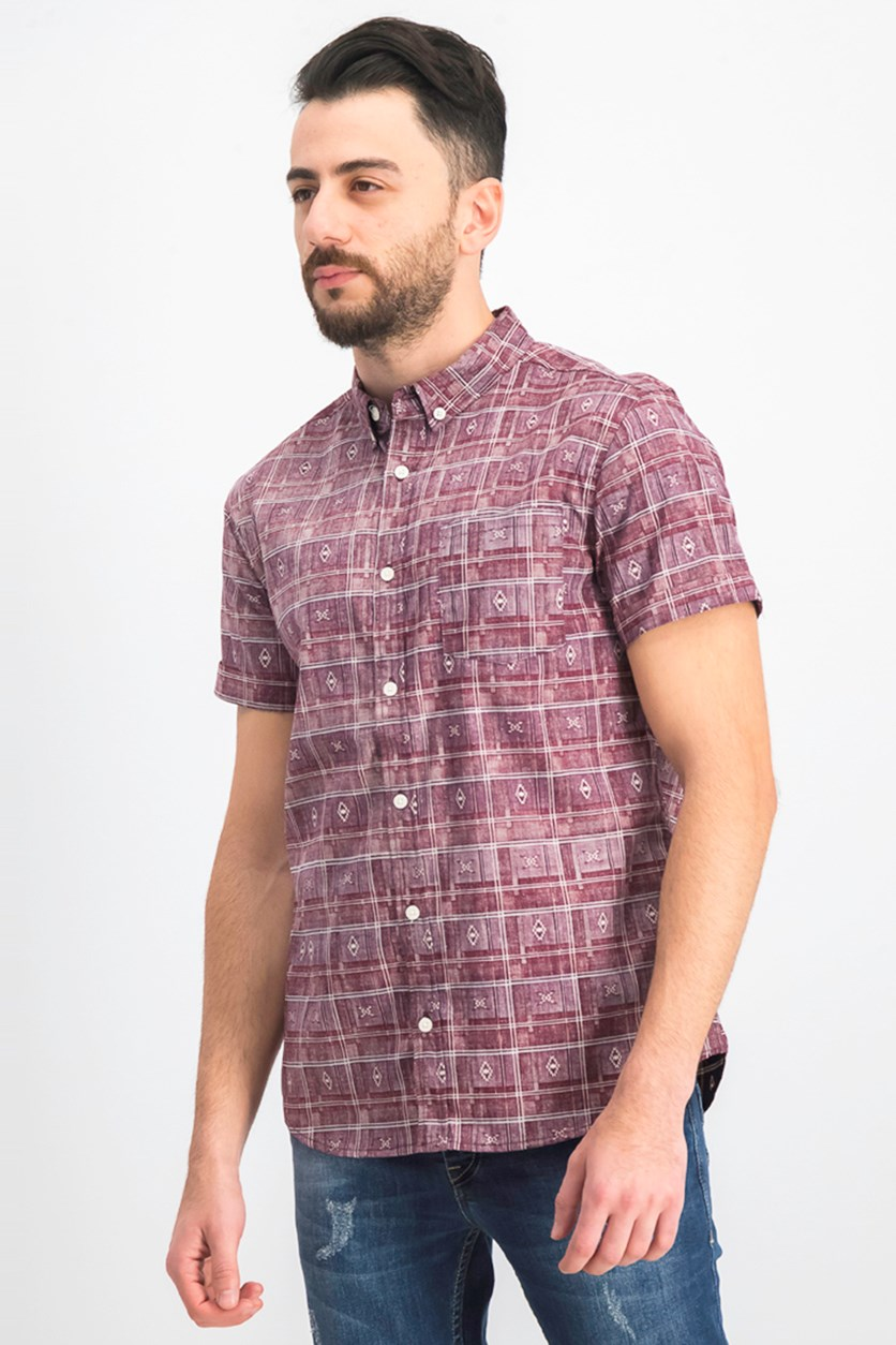 Men's Native Plaid Shirt, Maroon