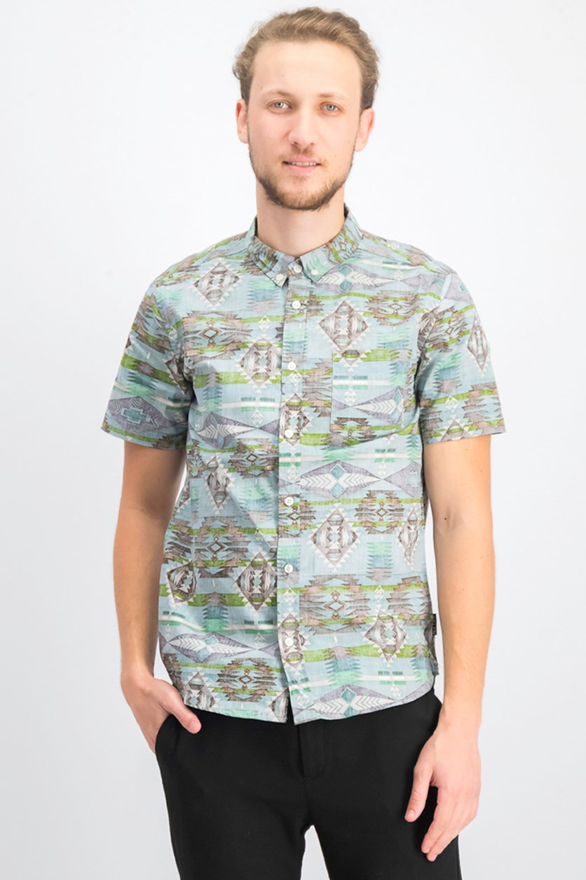 Men's Southwest Print Shirt, Green Combo