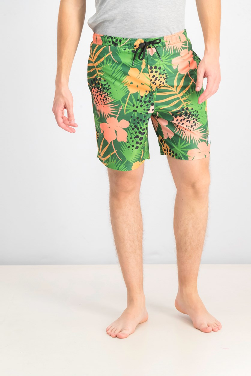 Men's Printed Volley Swim Trunks, Green Combo