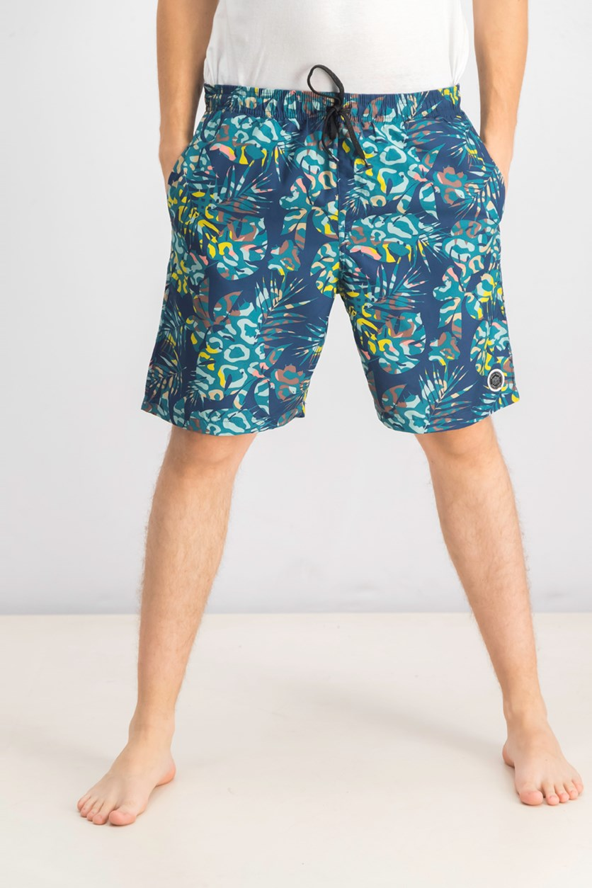 Men's Gradient Floral Swim Short, Navy Combo