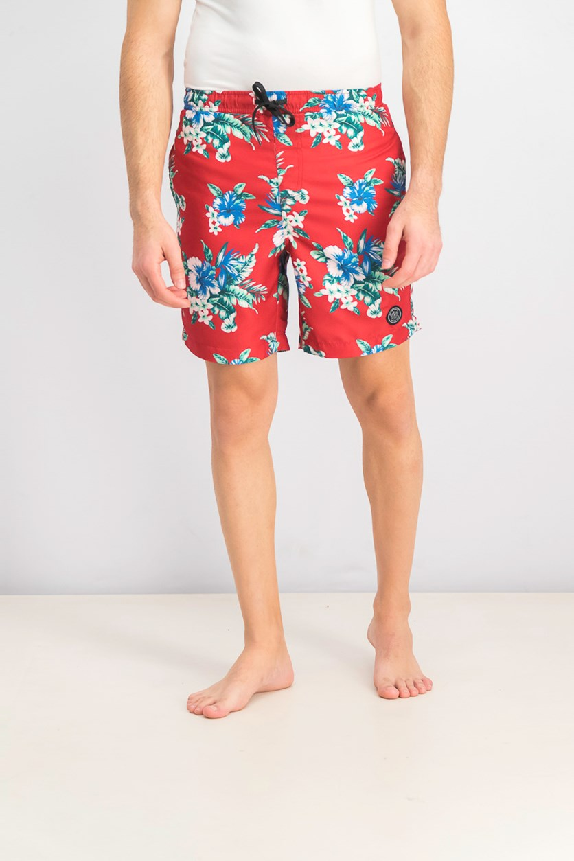 Men's Hawaiian Floral Swim Short, Red