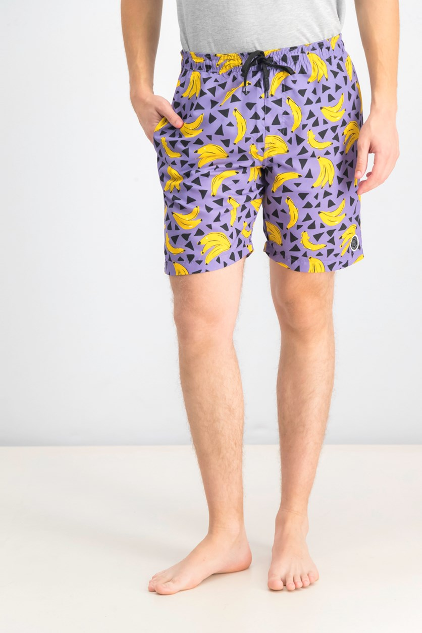 Men's Banana Swim Trunk, Purple/Yellow