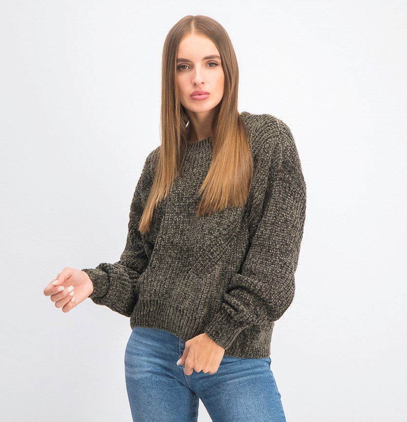 Women's Knit Crew Neck Pullover Sweater, Shale
