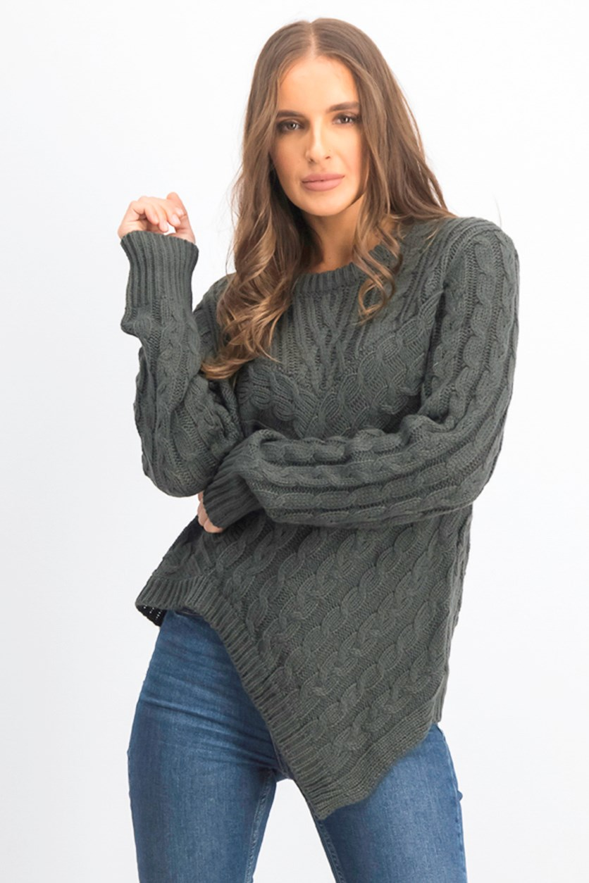 Women's Asymmetric Cable Knit Sweater, Charcoal