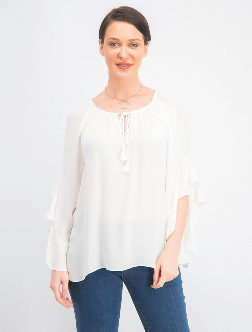 Women's Marvella Silk Tassel Blouse, Beige