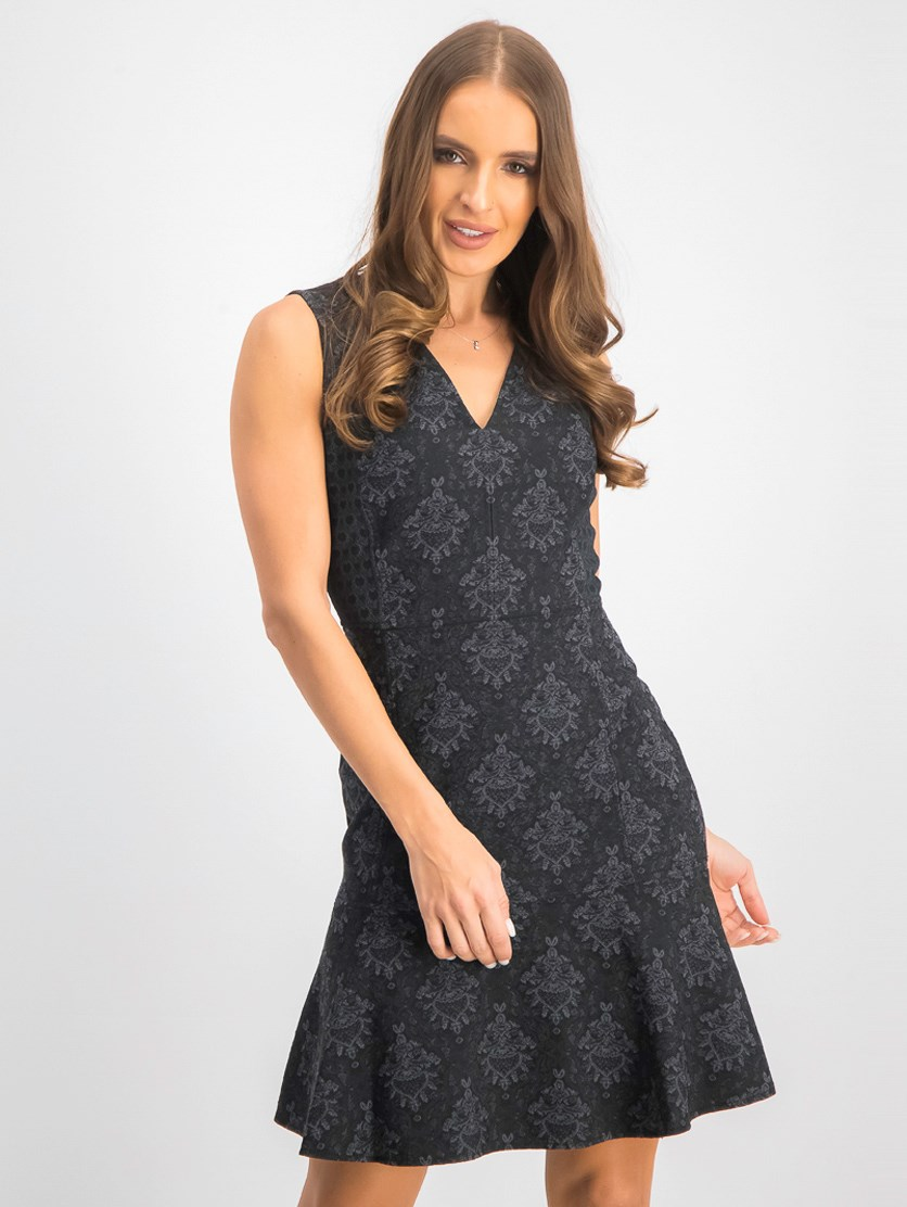 Women's Karla Printed Jacquard A-Line Mini Dress, Dark Grey Combo