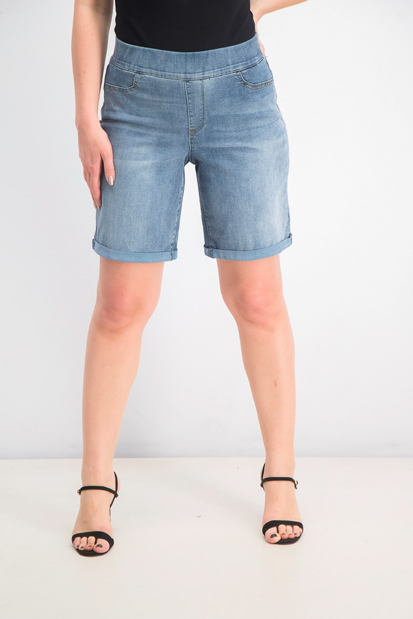 Women's Roll Cuff Pull-on Denim Shorts, Cano