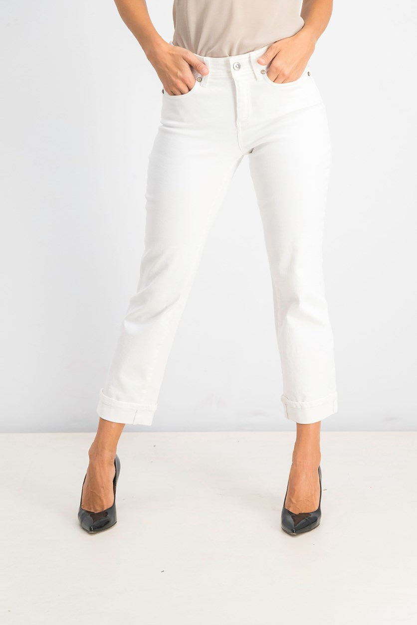 Women's Straight Ankle Cut Pants, Optic White