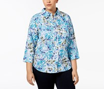 Women's Plus Size Cotton Printed Blouse, Blue