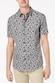 Men's Floral Shirt, Grey