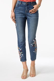 Women's Curvy-Fit Embroidered Skinny Jeans, Blue