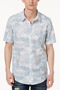Men's Botanical Shirt, White/Blue