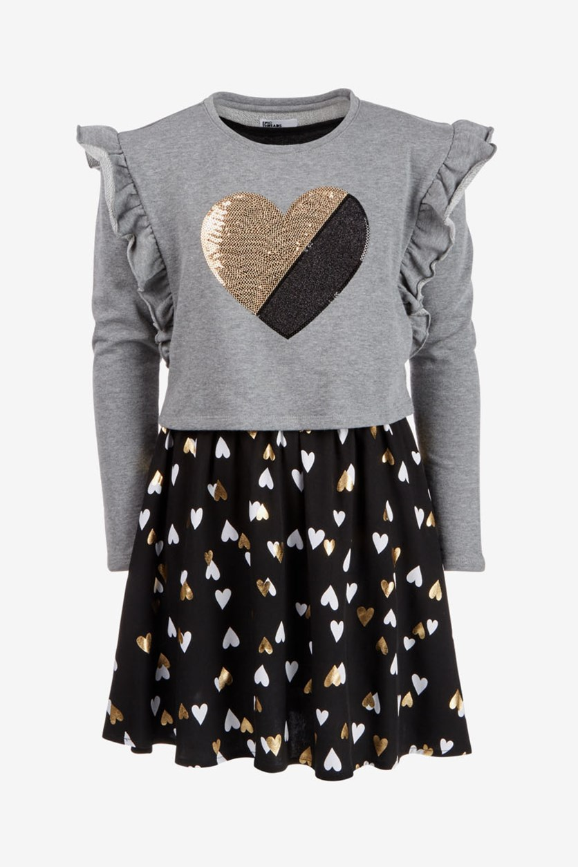 Big Girls Long-Sleeve Heart Dress, Grey/Black