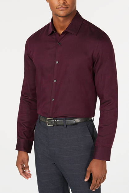 Men's Vesper Twill Casual Shirt, Maroon