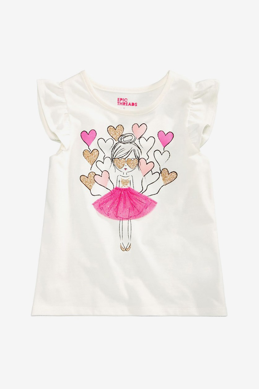 Girls Balloon Hearts T-Shirt, Holiday Ivory