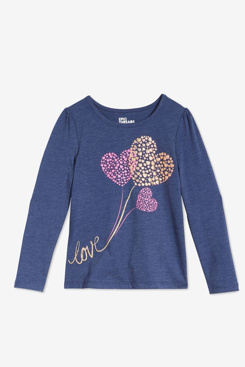 Big Girl's Long Sleeve Love Hearts T-Shirt, Medieval Blue