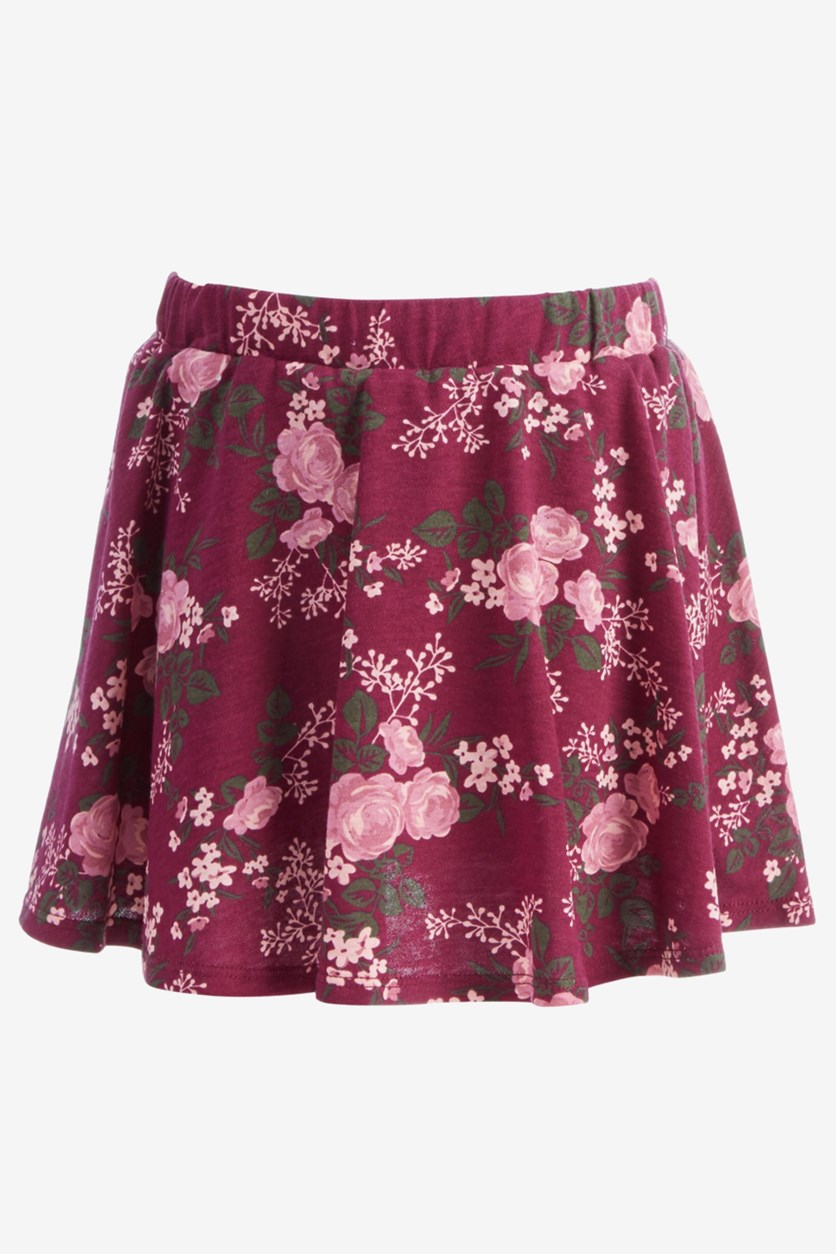 Toddler Girls Floral-Print Scooter Skirt, Crimson Autumn
