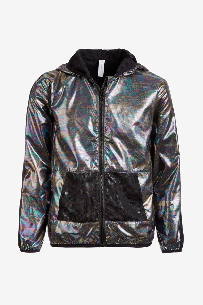 Little Girls Hooded Metallic & Mesh Windbreaker Jacket,  Noir