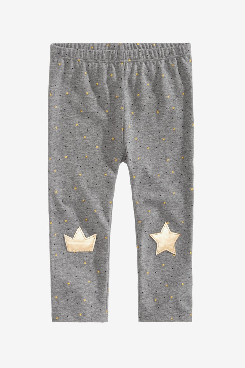 Baby Girls Star-Print Knee-Patch Leggings, Charcoal Grey