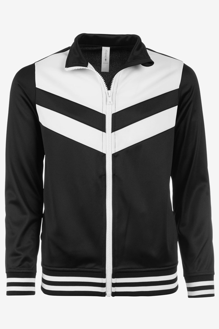 Big Girl's Colorblocked Track Jacket, Black Noir