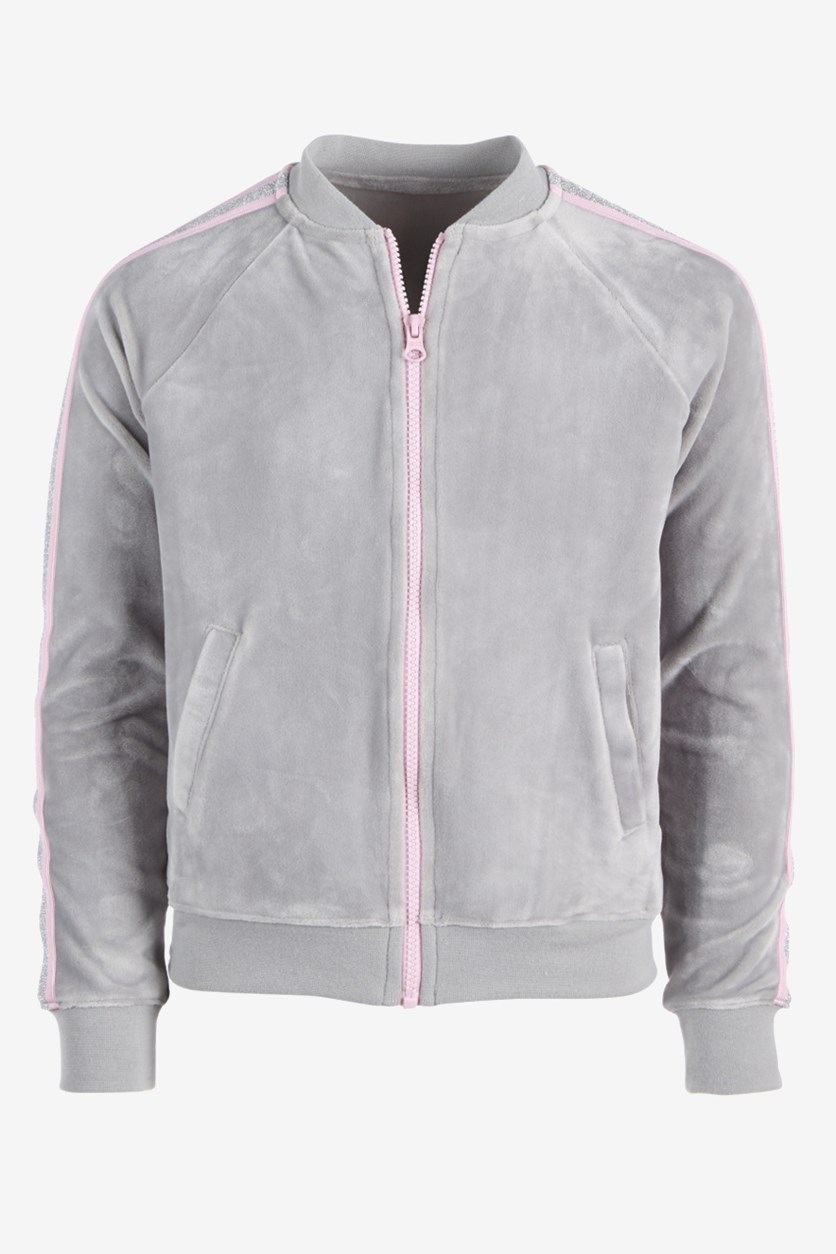 Girls Glitter Stripe Velour Track Jacket, Grey