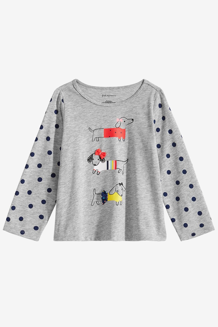 Baby Girls Dog Graphic T-Shirt, Grey Heather