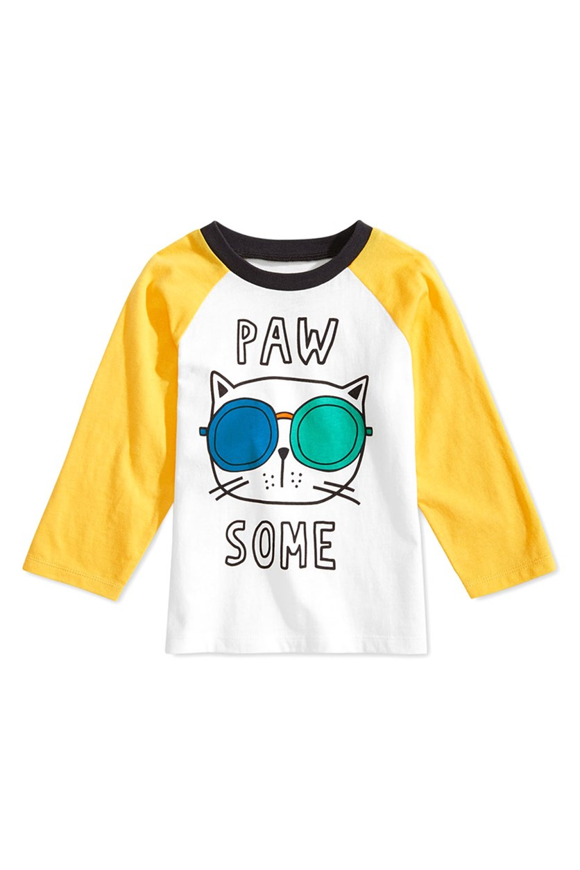 Baby Boys Pawsome Graphic Cotton T-Shirt, Angel White
