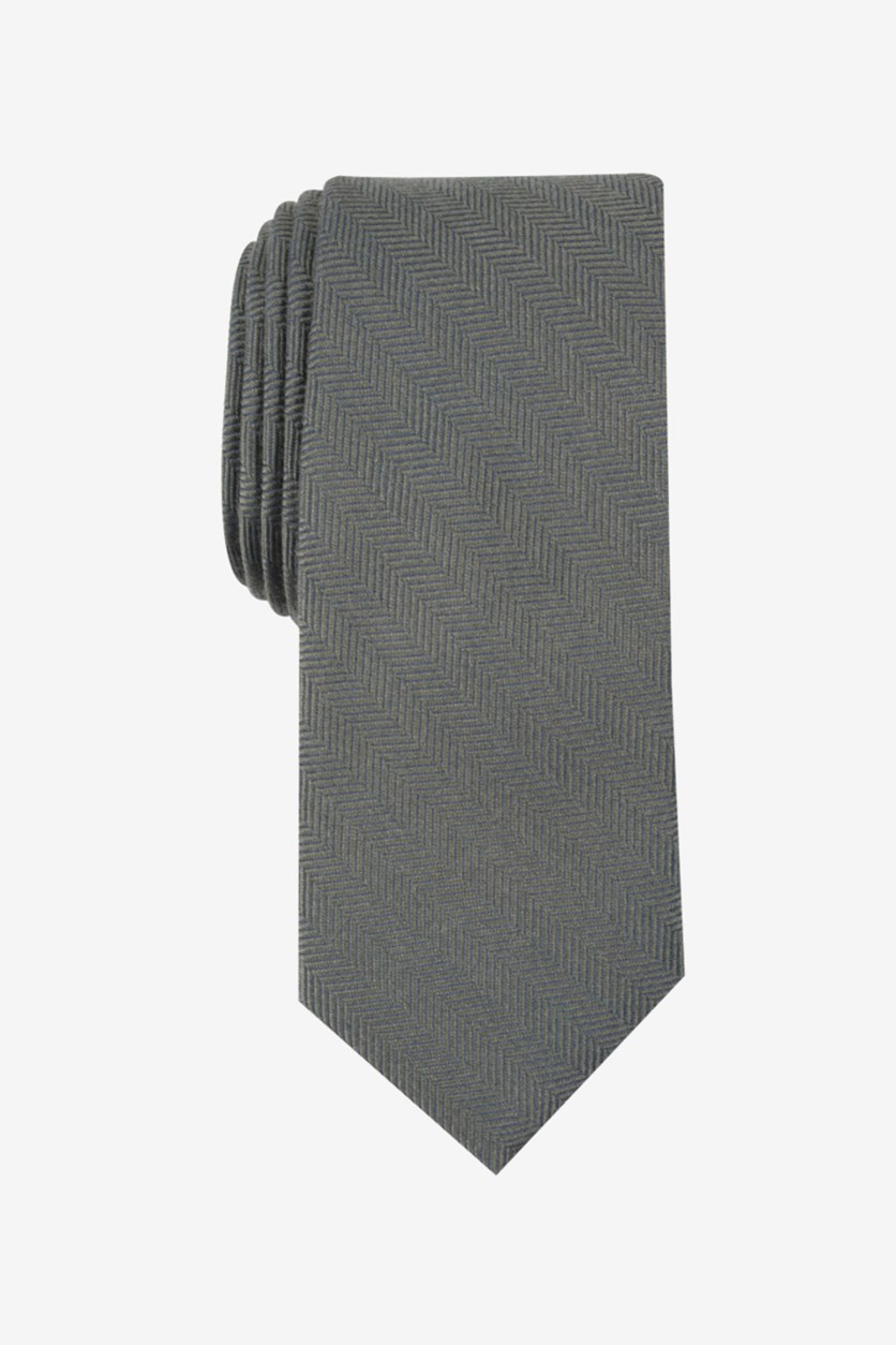 Men's New Herringbone Skinny Tie, Green