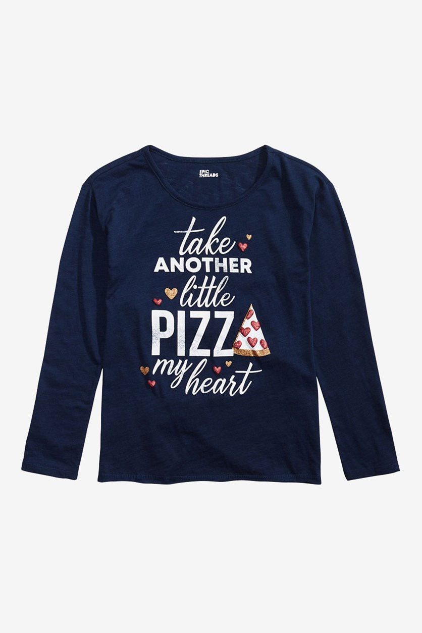 Big Girls Pizza My Heart Graphic T-Shirt, Peacoat