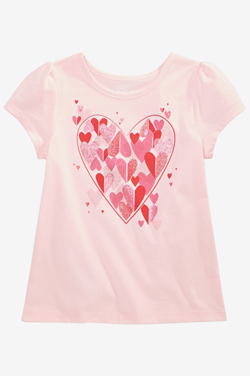 Girls Heart-Trim T-Shirt, Pink/Dogwood