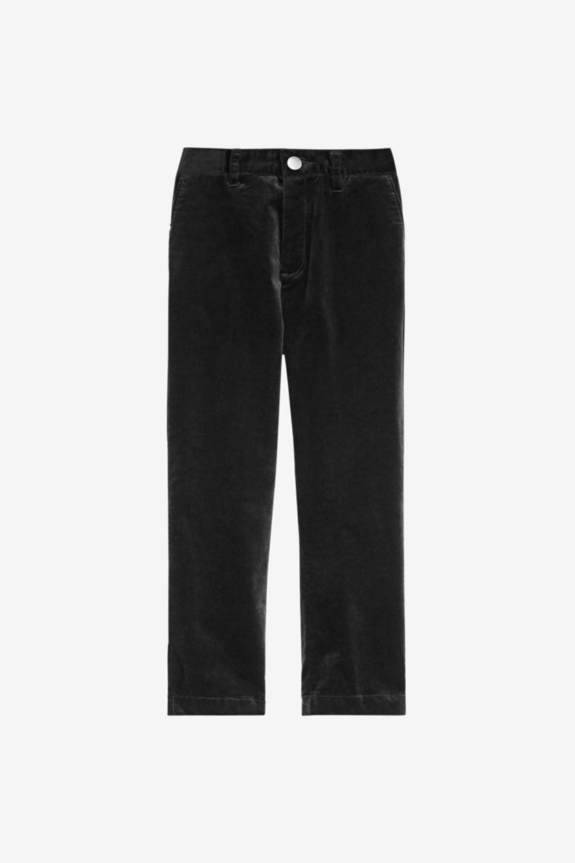 Girl's Stretch Velvet Pants, Black