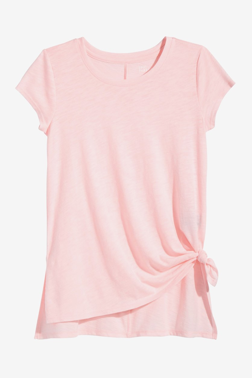 Big Girls Side-Tie Solid T-Shirt, Pink Dogwood