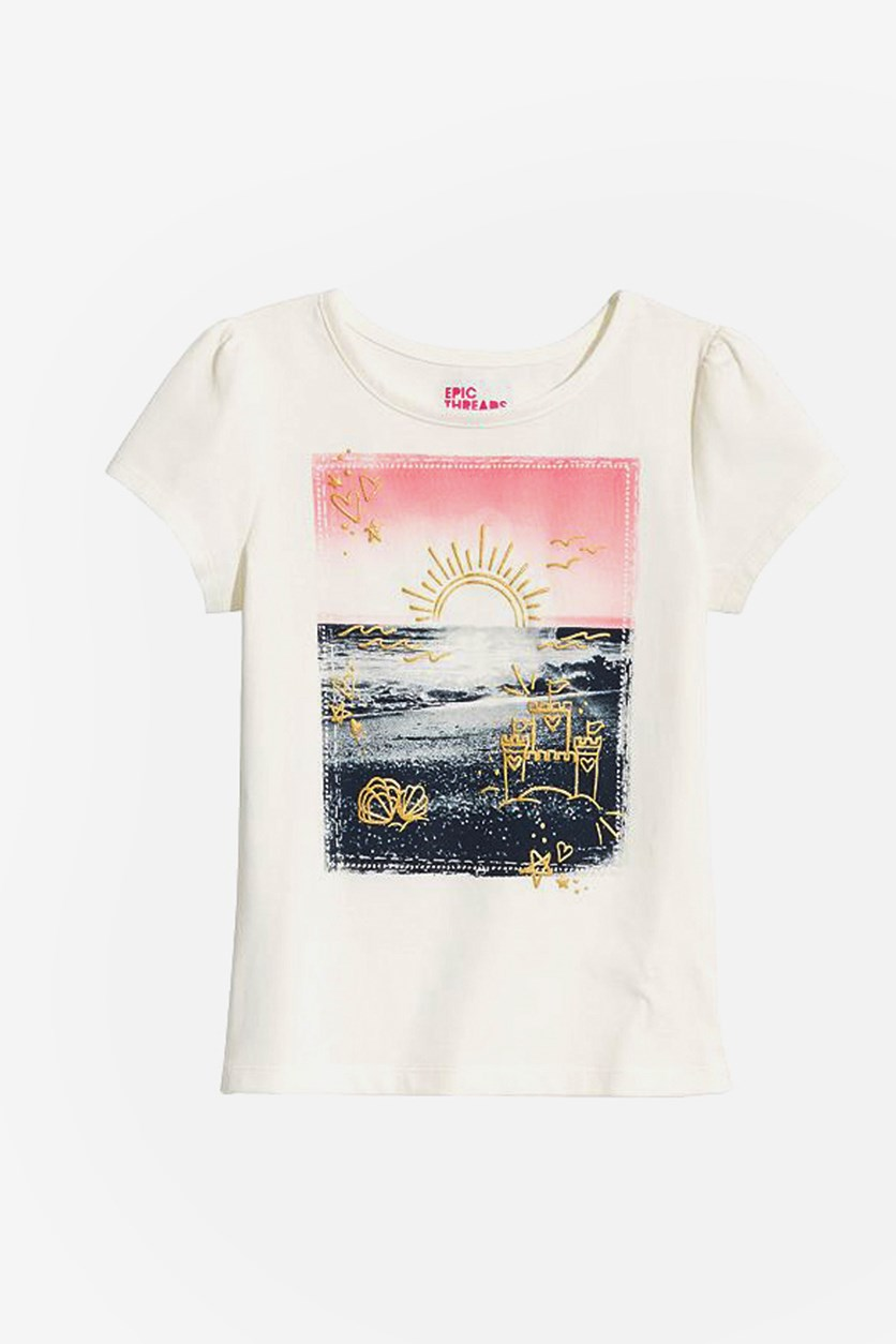 Girl's Sunset Graphic T-Shirt, Holiday Ivory