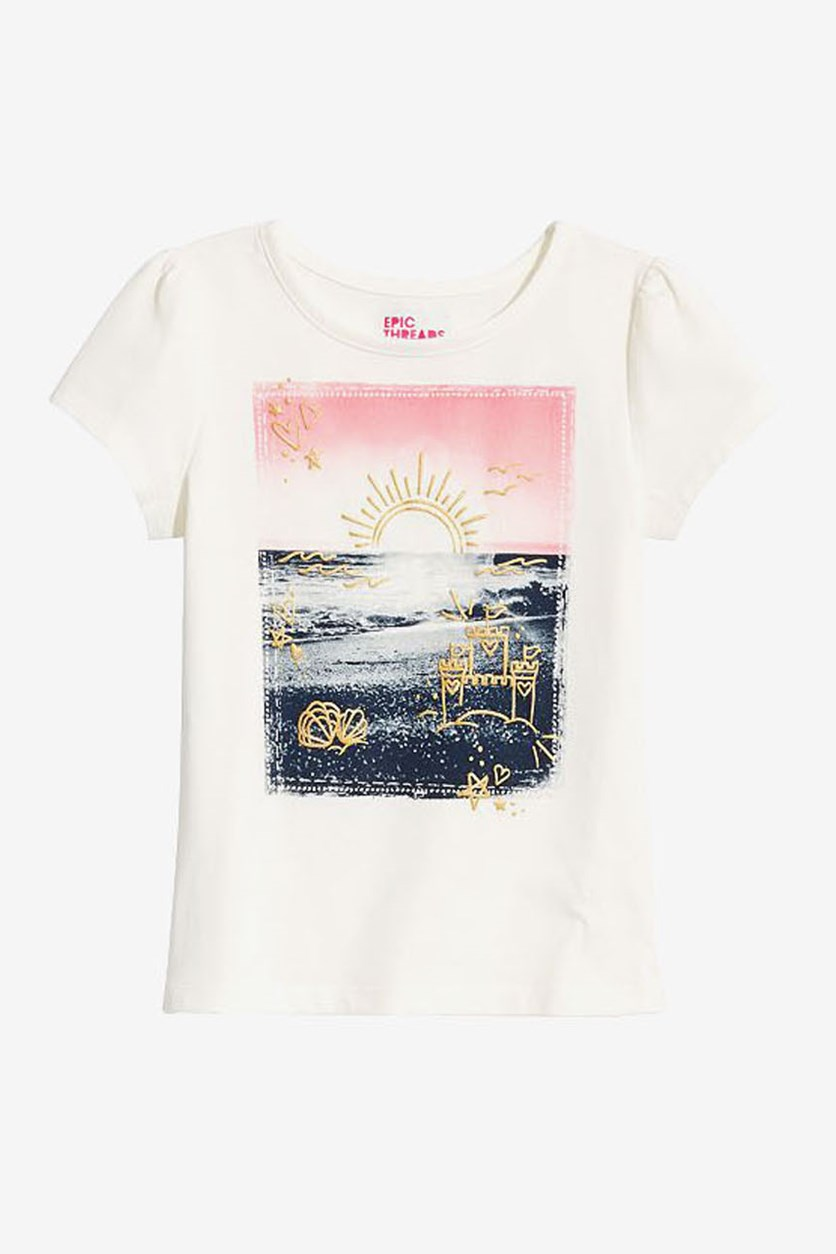 Baby Girl's Sunset Graphic T-Shirt, Holiday Ivory