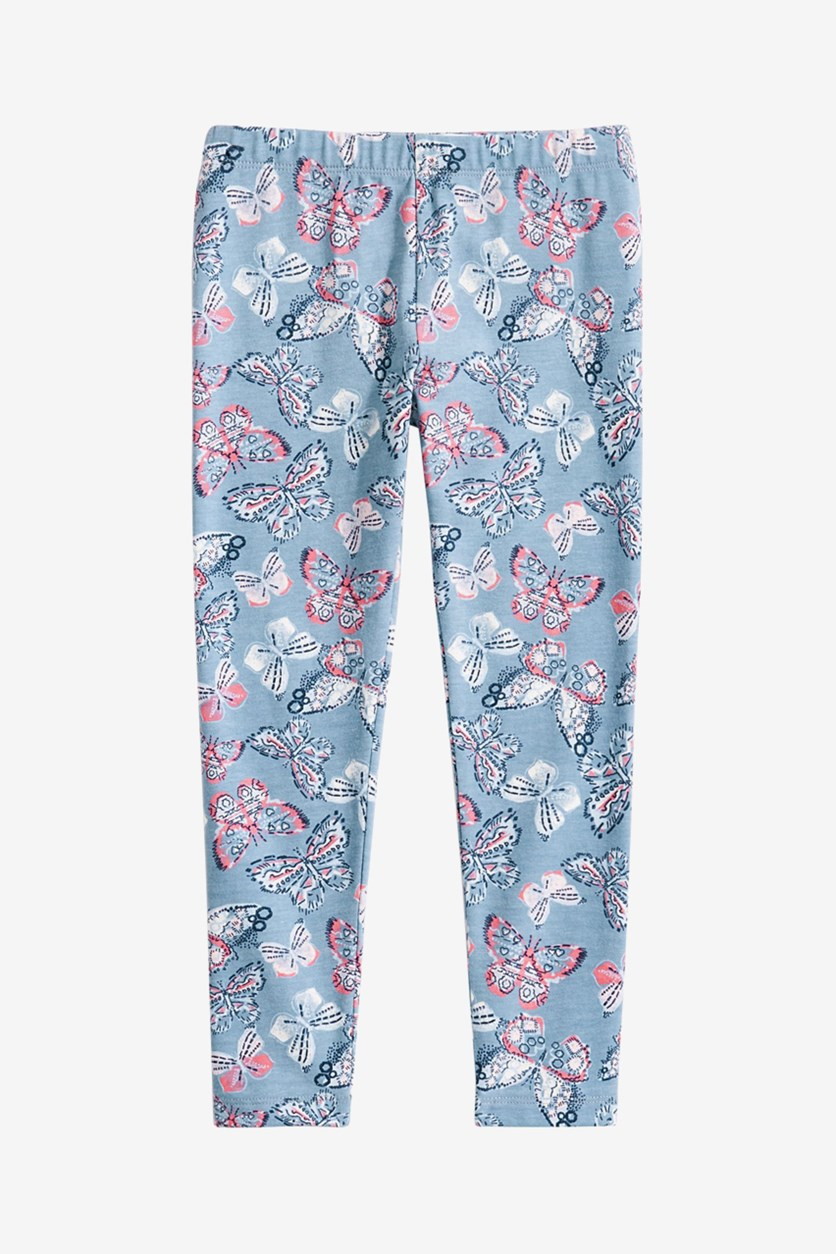 Girl's Butterfly-Print Leggings, Blue Ashstone