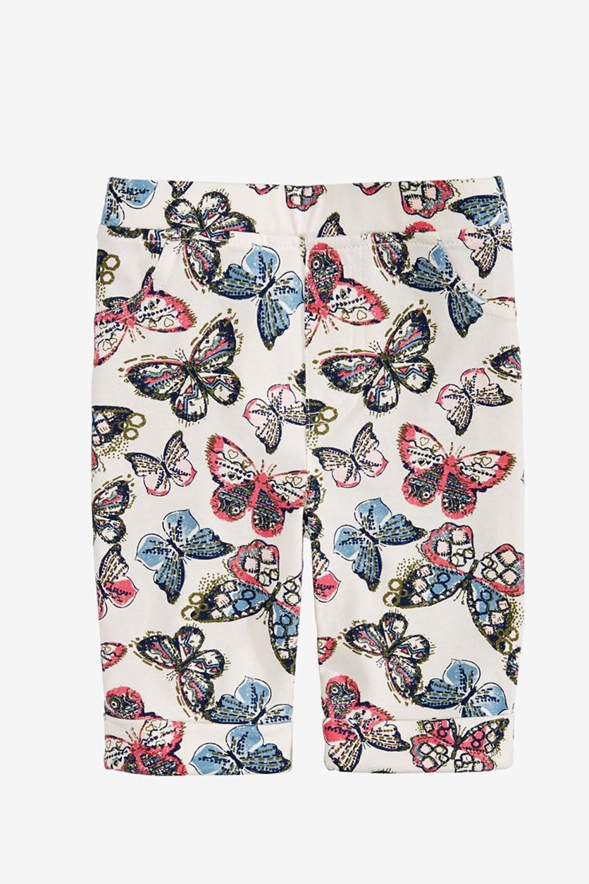 Girls Butterfly-Print Bermuda Shorts, Holiday Ivory
