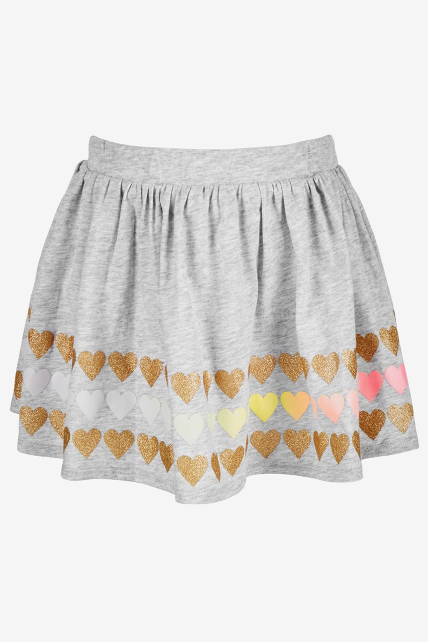 Girls Printed Skirt, Ghost Heather