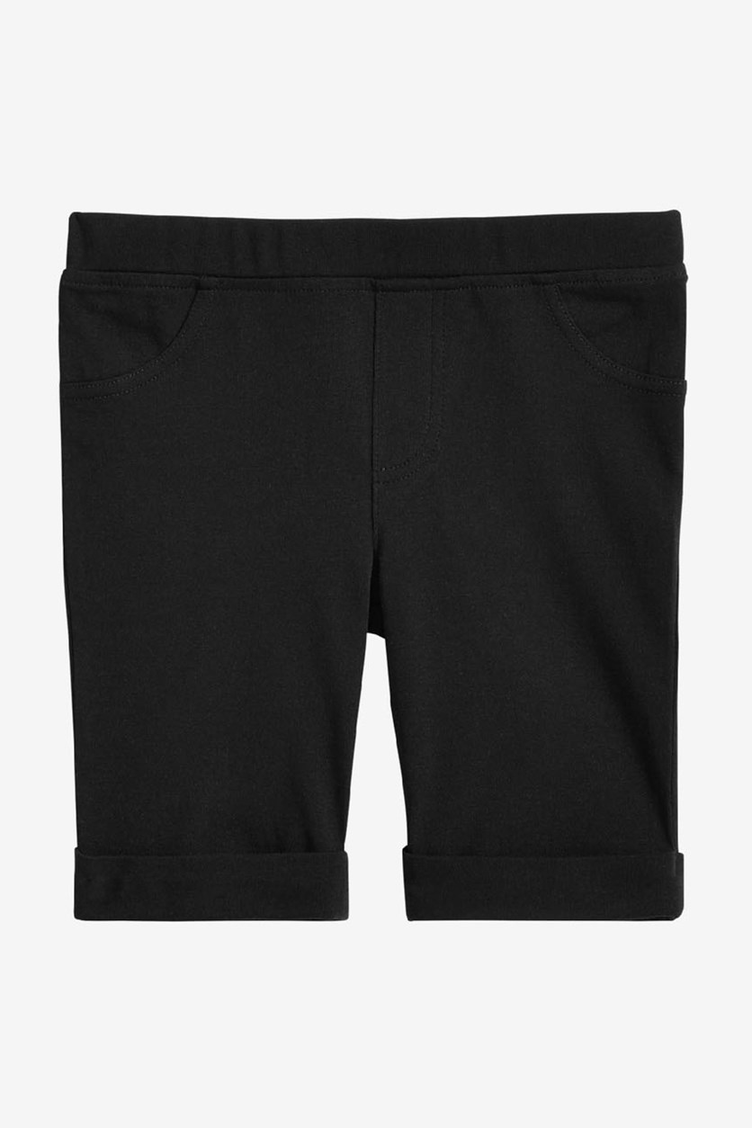 Girl's Two Pocket Bermuda Shorts, Deep Black