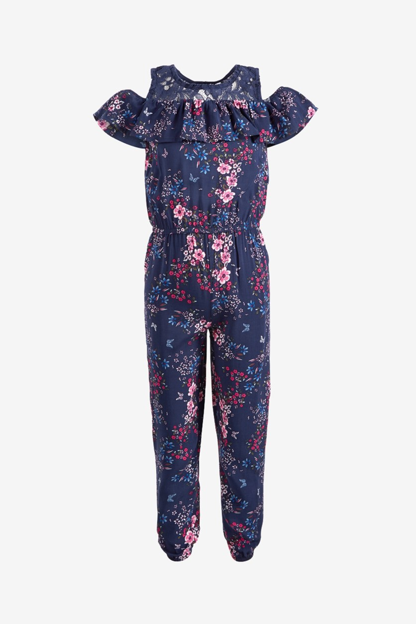 Girls Floral-Print Cold Shoulder Jumpsuit, Peacoat