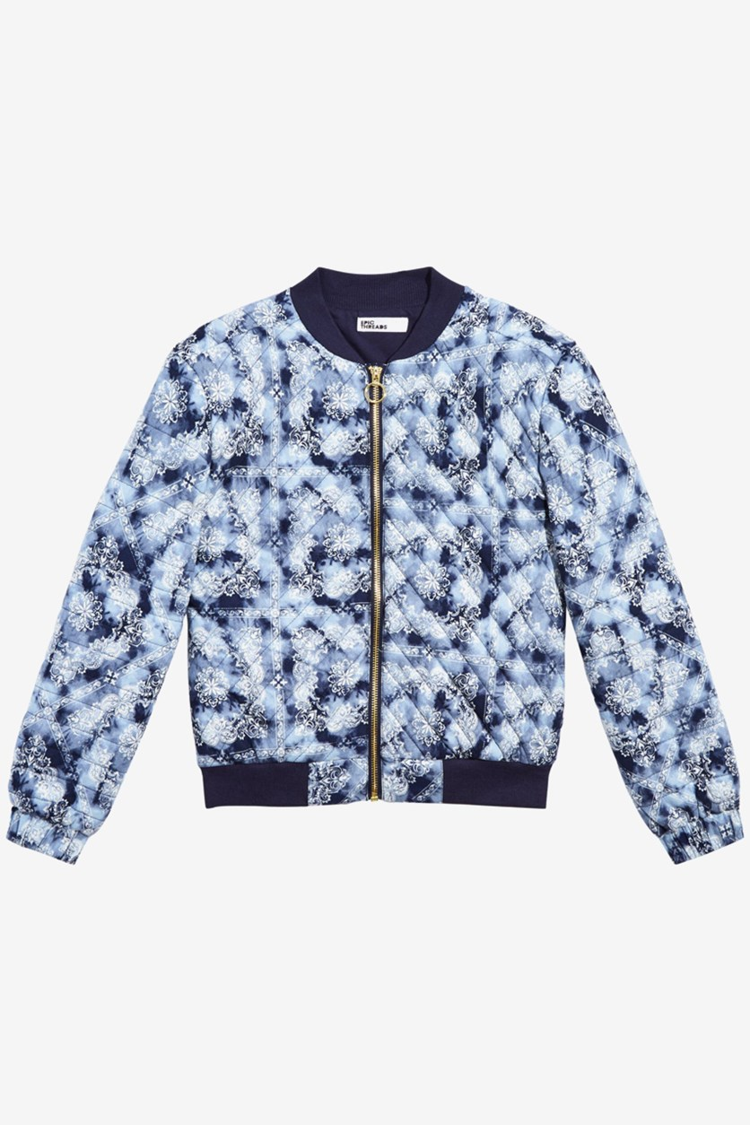 Little Girls Quilted Bomber Jacket, Peacoat