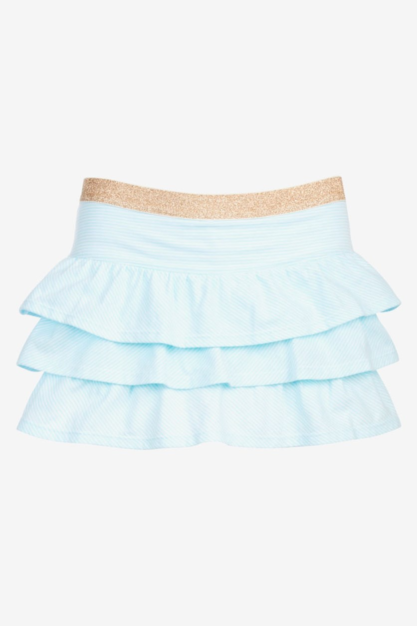Girls Striped Ruffle Skirt, Blue