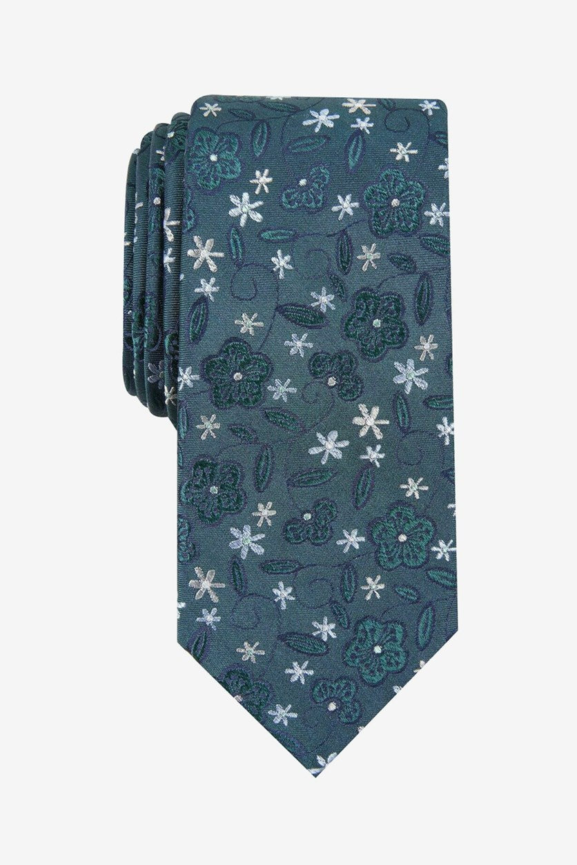 Men's Silk Floral Neck Tie, Hunter