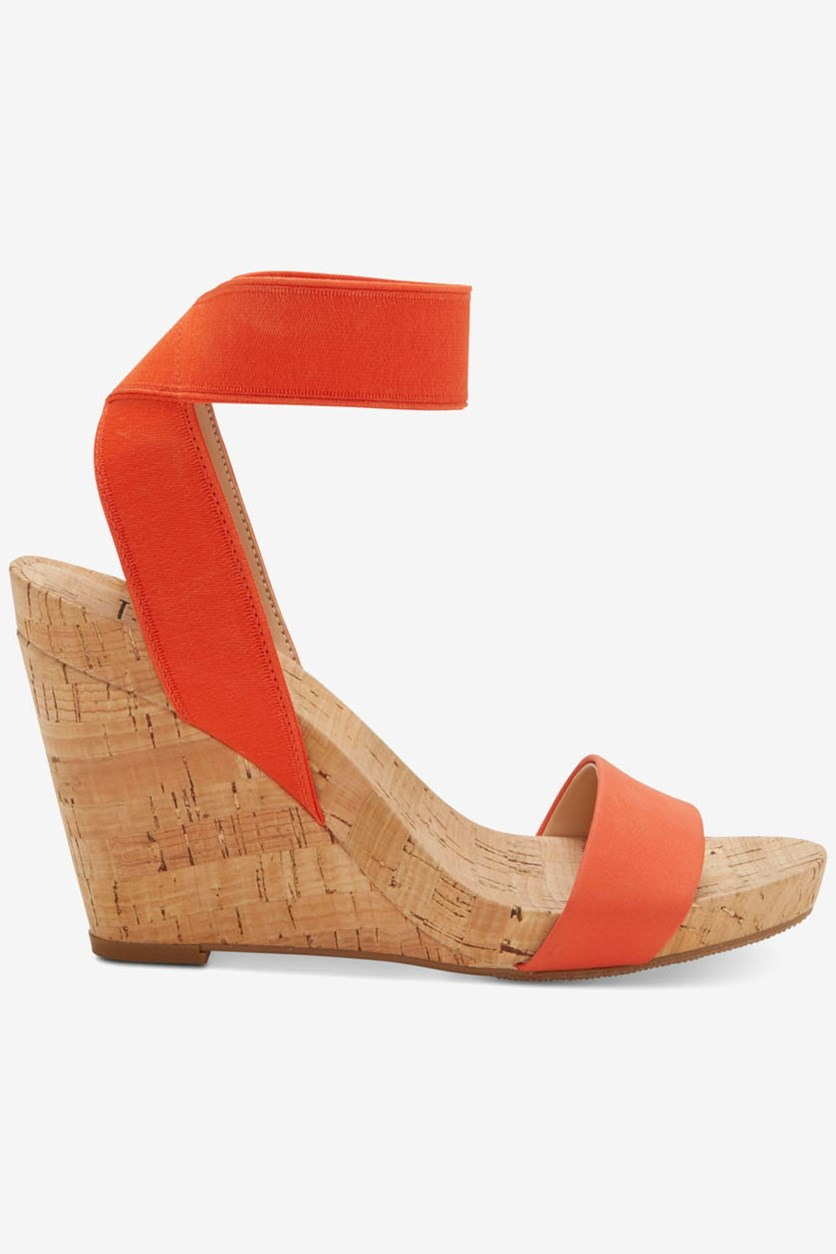 Womens Ankle-Strap Wedge Sandals, Orange