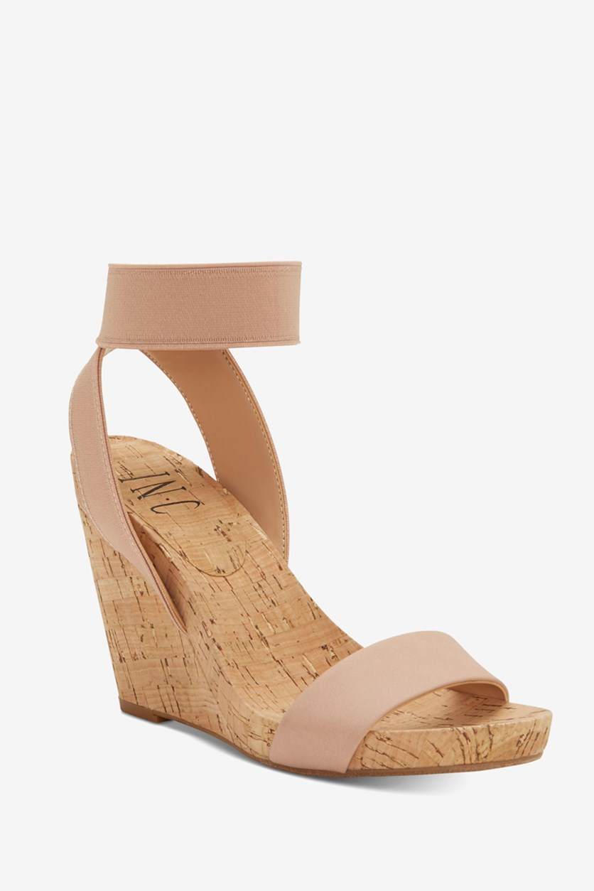 Womens Ankle-Strap Wedge Sandals, Pink Blush