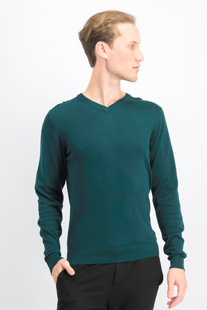 Men's Knitted Longsleve Sweater, Jungle Green